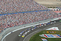 Mar 1, 2008; Las Vegas, NV, USA; Nascar Nationwide Series drivers Brian Vickers and Jeff Burton lead the field to the green flag to begin the Sams Town 300 at the Las Vegas Motor Speedway. Mandatory Credit: Mark J. Rebilas-US PRESSWIRE