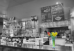 Cafe S'il Vous Plait on Robson street Vancouver. Selective de-colourization