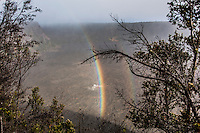 A rainbow over Kilauea Iki Crater along the Kilauea Iki trail in Hawaii Volcanoes National Park, Big Island.