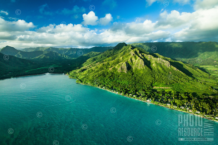 An aerial view of Kahana Bay and Valley on left and Punalu'u Valley on the right, Windward O'ahu.