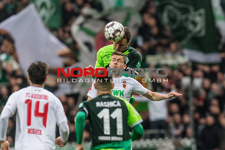 10.02.2019, Weserstadion, Bremen, GER, 1.FBL, Werder Bremen vs FC Augsburg<br /> <br /> DFL REGULATIONS PROHIBIT ANY USE OF PHOTOGRAPHS AS IMAGE SEQUENCES AND/OR QUASI-VIDEO.<br /> <br /> im Bild / picture shows<br /> Philipp Bargfrede (Werder Bremen #44) im Duell / im Zweikampf mit Alfred Finnbogason (FC Augsburg #27), <br /> <br /> Foto &copy; nordphoto / Ewert
