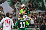 10.02.2019, Weserstadion, Bremen, GER, 1.FBL, Werder Bremen vs FC Augsburg<br /> <br /> DFL REGULATIONS PROHIBIT ANY USE OF PHOTOGRAPHS AS IMAGE SEQUENCES AND/OR QUASI-VIDEO.<br /> <br /> im Bild / picture shows<br /> Philipp Bargfrede (Werder Bremen #44) im Duell / im Zweikampf mit Alfred Finnbogason (FC Augsburg #27), <br /> <br /> Foto &copy; nordphoto / Ewert