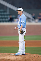 North Carolina Tar Heels relief pitcher Josh Hiatt (31) during the game against the Kentucky Wildcats at Boshmer Stadium on February 17, 2017 in Chapel Hill, North Carolina.  The Tar Heels defeated the Wildcats 3-1.  (Brian Westerholt/Four Seam Images)