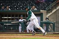Fort Wayne TinCaps Xavier Edwards (9) starts running toward first base during a Midwest League game against the Quad Cities River Bandits at Parkview Field on May 3, 2019 in Fort Wayne, Indiana. Quad Cities defeated Fort Wayne 4-3. (Zachary Lucy/Four Seam Images)