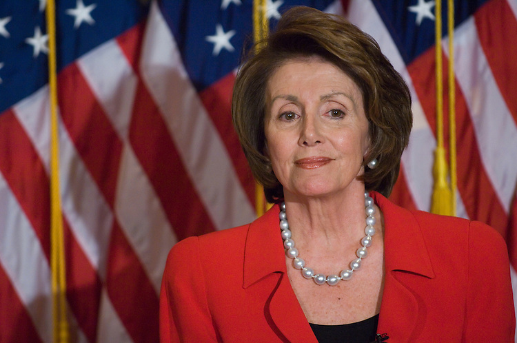 WASHINGTON, DC - Feb. 14: House Speaker Nancy Pelosi, D-Calif., during her weekly news conference as House Republicans left the chamber en masse Thursday to protest the refusal of Democratic leaders to call up a Senate-passed bill overhauling the ground rules for electronic surveillance. Democrats said they will try again to extend a temporary law before it expires this weekend, and President Bush said he would delay the start of a planned trip to Africa this weekend if it would help Congress quickly clear long-term legislation he could sign. Without further action, the temporary measure (PL 110-55) enacted last August is set to expire Feb. 16 as lawmakers commence their one-week Presidents Day recess. Both sides have accused the other of playing politics with the issue. (Photo by Scott J. Ferrell/Congressional Quarterly)