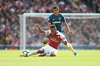 West Ham United's Fabian Balbuena and Arsenal's Pierre-Emerick Aubameyang<br /> <br /> Photographer Rob Newell/CameraSport<br /> <br /> The Premier League - Arsenal v West Ham United - Saturday August 25th 2018 - The Emirates - London<br /> <br /> World Copyright © 2018 CameraSport. All rights reserved. 43 Linden Ave. Countesthorpe. Leicester. England. LE8 5PG - Tel: +44 (0) 116 277 4147 - admin@camerasport.com - www.camerasport.com