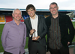 St Johnstone Player of the Year Awards...04.05.13.StJFC Business Club Player of the Year Award went to Murray Davidson pictured with Mike Crichton and Greg Davidson..Picture by Graeme Hart..Copyright Perthshire Picture Agency.Tel: 01738 623350  Mobile: 07990 594431