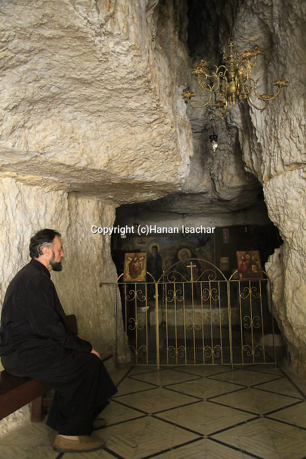 Judean Desert, a cave at the Greek Orthodox St. George of Koziba Monastery on the slope of Wadi Qelt