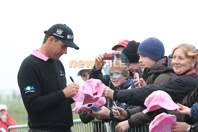 Padraig Harrington signing hats on the second day (pink Day) of the 3 Irish Open in Baltray...Photo NEWSFILE/Jenny Matthews.(Photo credit should read Jenny Matthews/NEWSFILE)....This Picture has been sent you under the condtions enclosed by:.Newsfile Ltd..The Studio,.Millmount Abbey,.Drogheda,.Co Meath..Ireland..Tel: +353(0)41-9871240.Fax: +353(0)41-9871260.GSM: +353(0)86-2500958.email: pictures@newsfile.ie.www.newsfile.ie.FTP: 193.120.102.198.