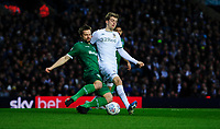 Leeds United's Patrick Bamford is tackled by Sheffield Wednesday's Julian Borner<br /> <br /> Photographer Chris Vaughan/CameraSport<br /> <br /> The EFL Sky Bet Championship - Leeds United v Sheffield Wednesday - Saturday 11th January 2020 - Elland Road - Leeds<br /> <br /> World Copyright © 2020 CameraSport. All rights reserved. 43 Linden Ave. Countesthorpe. Leicester. England. LE8 5PG - Tel: +44 (0) 116 277 4147 - admin@camerasport.com - www.camerasport.com