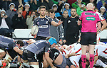 Ospreys scrum half Rhys Webb appeals to Referee Neil Paterson after the scrum collapses.<br /> Guiness Pro12<br /> Ospreys v Ulster<br /> 20.12.14<br /> ©Steve Pope -SPORTINGWALES
