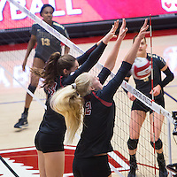 STANFORD, CA - September 9, 2016: Audriana Fitzmorris, Kathryn Plummer at Maples Pavilion. The Purdue Boilermakers defeated the Stanford Cardinal 3 - 2.
