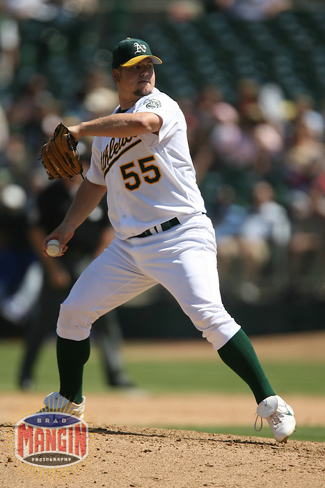 Athletics pitcher Joe Blanton in action during the Texas Rangers vs Oakland Athletics game at McAfee Coliseum in Oakland, CA on September 6, 2006. Photo by Brad Mangin.