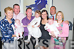 Isabella and Markus O'Brien, Rathmore, pictured with their parents Colm and Stephanie, sister Jessica and godparents Rose O'Brien, Donal Murphy, Denis O'Brien and Hazel O'Brien at their christening celebrations in the Killarney Oaks hotel on Saturday.