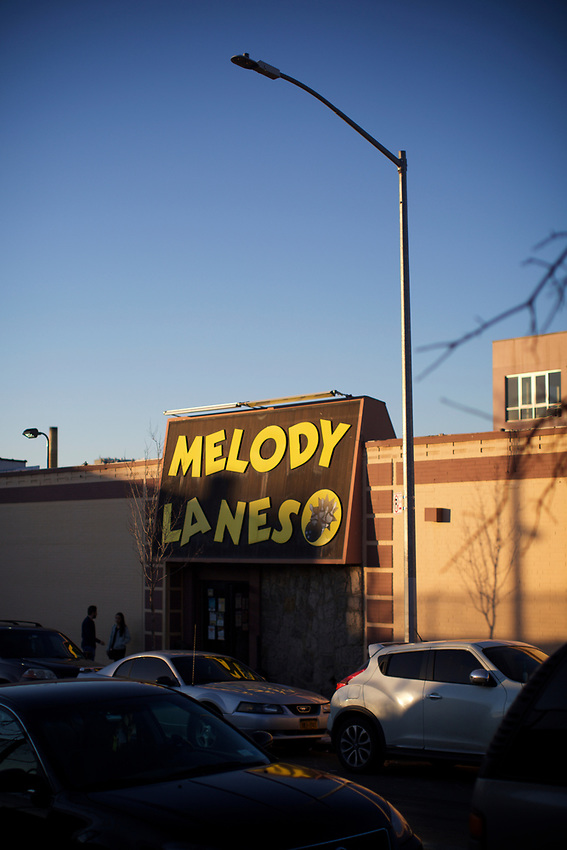 BROOKLYN, NY - March 19, 2017: Melody Lanes bowling alley in Sunset Park.<br /> <br /> Credit: Clay Williams.<br /> <br /> &copy; Clay Williams / http://claywilliamsphoto.com