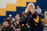 WATERBURY, CT-120818JS14- Kennedy head coach <br />  Jenn Deeley calls out instructions to her players as they compete with WCA during the Waterbury girls basketball jamboree Saturday at Kennedy High School. <br /> Jim Shannon Republican American