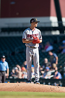 Salt River Rafters starting pitcher Griffin Jax (22), of the Minnesota Twins organization, gets ready to deliver a pitch during an Arizona Fall League game against the Mesa Solar Sox at Sloan Park on November 9, 2018 in Mesa, Arizona. Mesa defeated Salt River 5-4. (Zachary Lucy/Four Seam Images)