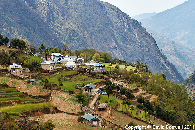 One of the many small villages in the Dudh Kosi River Valley on the earlier portion of the Everest Base Camp Trail in Nepal.