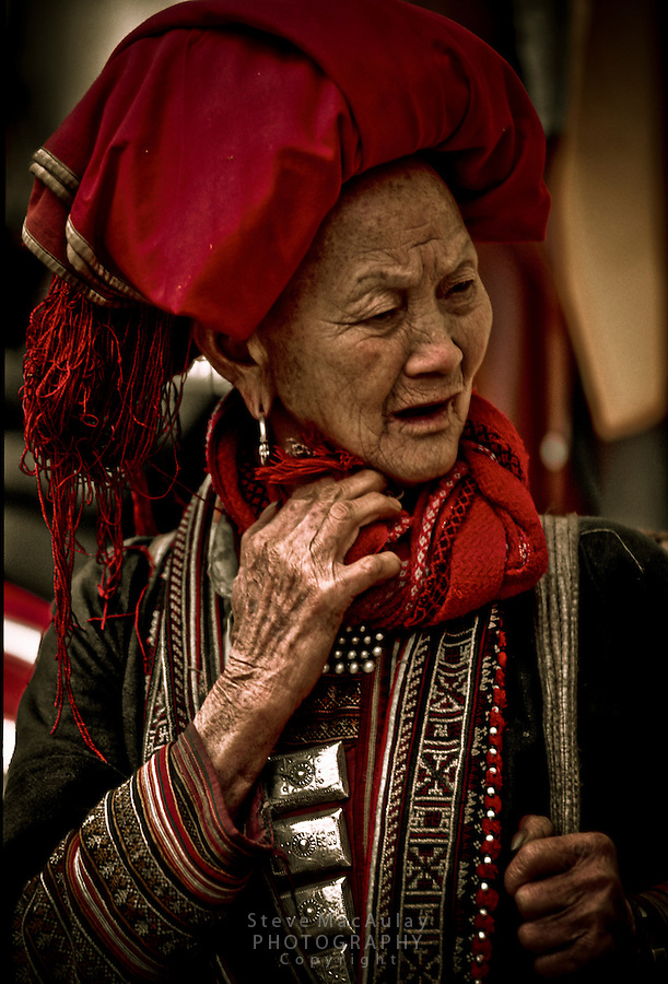 Red Zao woman in full traditional clothing, Saturday Market, Sapa Vietnam