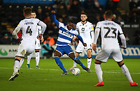 11th February 2020; Liberty Stadium, Swansea, Glamorgan, Wales; English Football League Championship, Swansea City versus Queens Park Rangers; Bright Osayi-Samuel of Queens Park Rangers shoots at goal as Swansea City defenders close in