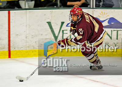10 January 2009: Boston College Eagles' defenseman Tim Kunes, a Senior from Huntington, NY, in action during the second game of a weekend series against the University of Vermont Catamounts at Gutterson Fieldhouse in Burlington, Vermont. The Catamounts rallied from an early 2-0 deficit to defeat the visiting Eagles 4-2. Mandatory Photo Credit: Ed Wolfstein Photo