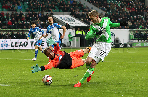 07.02.2015. Wolfsburg, Germany. Bundesliga football league match. VFL Wolfsburg versus TSG Hoffenheim at the  Volkswagen-Arena Wolfsburg. Goalie Oliver Baumann beaten by new signing  Andre Schurrle