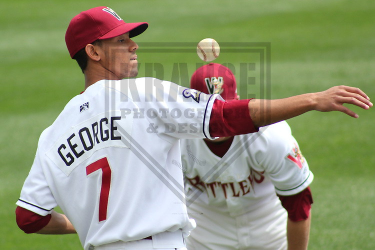 APPLETON - MAY 2011: Carlos George (7) of the Wisconsin Timber Rattlers, Class-A affiliate of the Milwaukee Brewers, during a game on May 23, 2011 at Fox Cities Stadium in Appleton, Wisconsin. (Photo by Brad Krause) ........