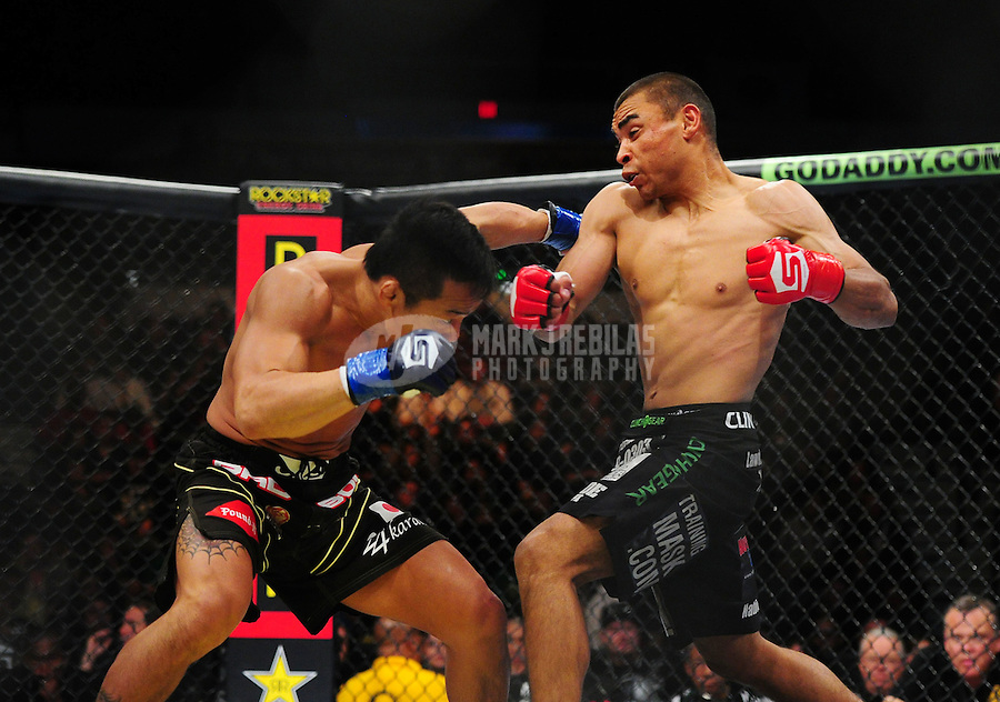 Apr. 9, 2011; San Diego, CA, USA; Strikeforce fighter Robert Peralta (right) against Hiroyuki Takaya during an undercard bout at the Valley View Casino Center.  Mandatory Credit: Mark J. Rebilas-