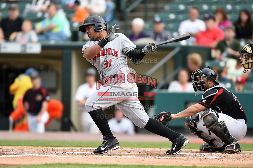 Indianapolis Indians outfielder Jose Tabata (31) at bat during a game against the Rochester Red Wings on July 26, 2014 at Frontier Field in Rochester, New  York.  Rochester defeated Indianapolis 1-0.  (Mike Janes/Four Seam Images)