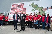 Ian Lavery MP and Andrew Gwynne MP stand in for Jeremy Corbyn at Labour Party general election campaign poster launch, London.