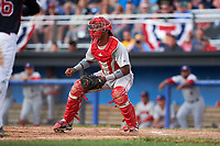 Auburn Doubledays catcher Jeyner Baez (13) waits for a throw during a game against the Batavia Muckdogs on June 19, 2017 at Dwyer Stadium in Batavia, New York.  Batavia defeated Auburn 8-2 in both teams opening game of the season.  (Mike Janes/Four Seam Images)