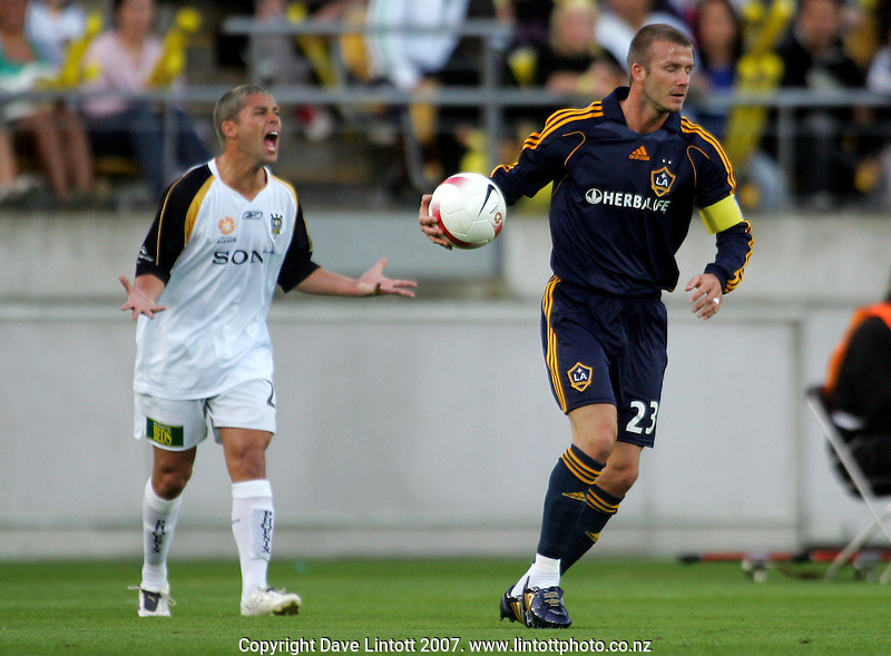 Felipe voices his frustration as David Beckham takes the ball for a free kick during the invitational friendly football match between Wellington Phoenix and LA Galaxy FC at Westpac Stadium, Wellington, New Zealand on Saturday 1 December 2007. Photo: Dave Lintott / lintottphoto.co.nz