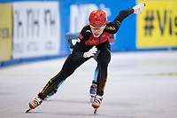 01 February 2019, Saxony, Dresden: Shorttrack: World Cup, quarter finals, 1500 meter men in the EnergieVerbund Arena. Kongchao Li from China on the track.