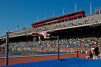 "Derek Drouin of Indiana University clears the bar at a height of 7' 7.75"" (2.33m) to win the College Mens High Jump Championship of America Saturday at the 2013 Penn Relays."