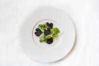 Europe/France/Rhone-Alpes/73/Savoie/Courchevel: Restaurant: Le 1947, Maison Cheval Blanc, Le Jardin Alpin - Noix de Saint-Jacques à l'assiette, truffe et cresson de fontaine - Recette de Yannick Alleno