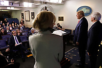 United States President Donald J. Trump speaks during a press briefing on the Coronavirus COVID-19 pandemic with members of the Coronavirus Task Force at the White House in Washington on March 19, 2020. <br /> Credit: Yuri Gripas / Pool via CNP/AdMedia