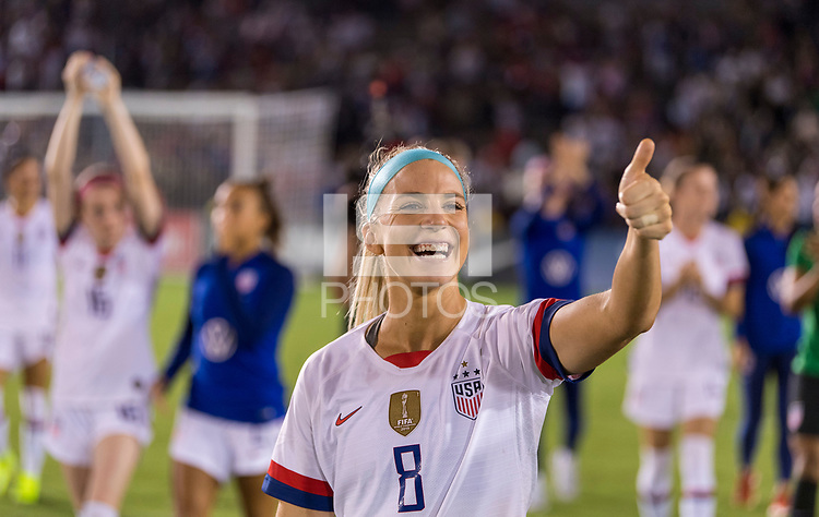 PASADENA, CA - AUGUST 4: Julie Ertz #8 salutes the crowd during a game between Ireland and USWNT at Rose Bowl on August 3, 2019 in Pasadena, California.