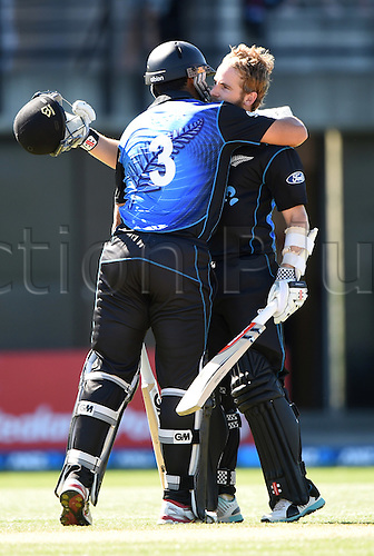 03.02.2015. Napier, New Zealand.  Kane Williamson celebrates his century with Ross Taylor. ANZ One Day International Cricket Series. Match 2 between New Zealand Black Caps and Pakistan at McLean Park in Napier, New Zealand.