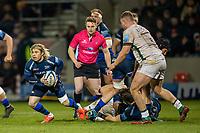 6th March 2020; AJ Bell Stadium, Salford, Lancashire, England; Premiership Rugby, Sale Sharks versus London Irish; Faf de Klerk of Sale Sharks clears the ball