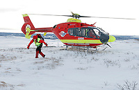 Norwegian Air Ambulance helicopter and crew.<br />