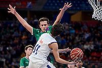 Unicaja's Pablo Leon and Real Madrid's Daniel Bernabéu during Finals match of 2017 Mini King's Cup at Fernando Buesa Arena in Vitoria, Spain. February 19, 2017. (ALTERPHOTOS/BorjaB.Hojas) /NortEPhoto.com
