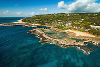 An aerial view of Shark's Cove (or Sharks Cove), a popular North Shore destination on O'ahu.