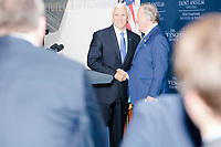 Vice President Mike Pence arrives to speak at a Politics and Eggs event at Saint Anselm College's Institute of Politics in Manchester, New Hampshire, on Thu., November 7, 2019. Pence traveled to New Hampshire as a surrogate for Donald Trump to file required paperwork for the president to get on the New Hampshire presidential primary ballot in 2020.