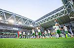 Stockholm 2014-09-28 Fotboll Superettan Hammarby IF - IK Sirius :  <br /> Vy &ouml;ver Tele2 Arena n&auml;r spelare g&aring;r in p&aring; planen inf&ouml;r matchen mellan i Hammarby och Sirius <br /> (Foto: Kenta J&ouml;nsson) Nyckelord:  Superettan Tele2 Arena Hammarby HIF Bajen Sirius IKS inomhus interi&ouml;r interior