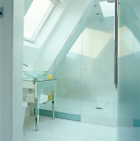 The glass shower room has a huge shower head a skylight panel directly above it