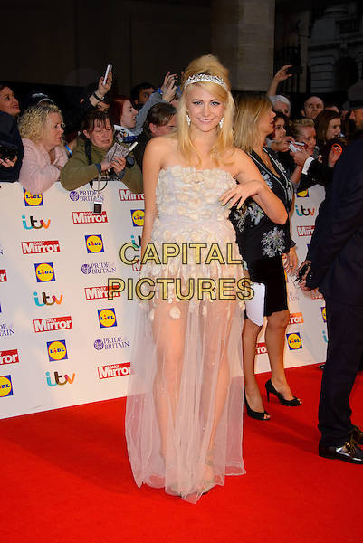 Victoria Louise &quot;Pixie&quot; Lott<br /> The Daily Mirror's Pride of Britain Awards arrivals at the Grosvenor House Hotel, London, England.<br /> 7th October 2013<br /> full length white sheer strapless dress see through thru applique bodysuit hand arm headband <br /> CAP/CJ<br /> &copy;Chris Joseph/Capital Pictures