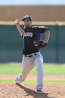 Steven Hensley #35 of the Colorado Rockies pitches during a Minor League Spring Training Game against the San Francisco Giants at the Colorado Rockies Spring Training Complex on March 18, 2014 in Scottsdale, Arizona. (Larry Goren/Four Seam Images)