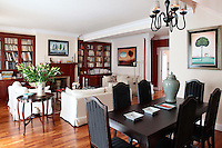 classic living room with dining set
