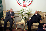Palestinian President Mahmoud Abbas meets with Tunisian President Mohamed El Baji, Tunis, Tunisia, on March 30, 2019. Photo by Thaer Ganaim