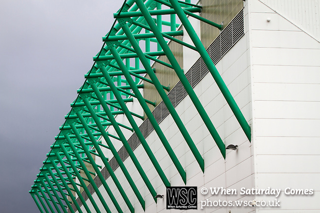 Hibernian 3 Alloa Athletic 0, 12/09/2015. Easter Road stadium, Scottish Championship. An exterior view of the East Stand at Easter Road stadium before the Scottish Championship match between Hibernian and visitors Alloa Athletic. The home team won the game by 3-0, watched by a crowd of 7,774. It was the Edinburgh club's second season in the second tier of Scottish football following their relegation from the Premiership in 2013-14. Photo by Colin McPherson.